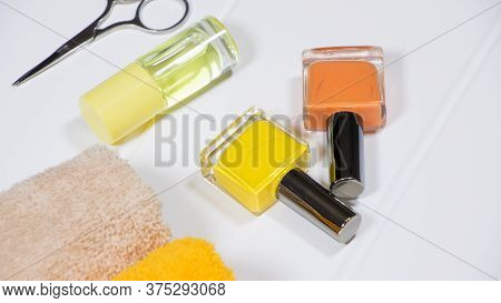 Manicure. Set Of Nail Polishes On A White Background. The Bottles Of Nail Polish. Nail Care Spa Set.