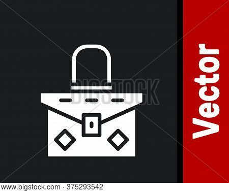 White Handbag Icon Isolated On Black Background. Female Handbag Sign. Glamour Casual Baggage Symbol.