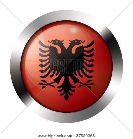 Metal And Glass Button - Flag Of Albania - Europe