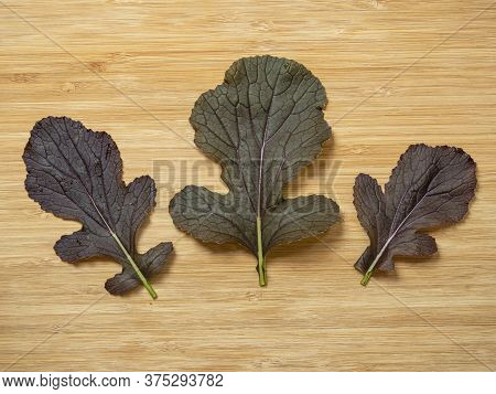 Three Red Leaves Of Mizuna F1 Red Empire Laid On A Wooden Chopping Board