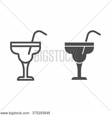 Glass With Margarita Cocktail Line And Solid Icon, Alcohol Drinks Concept, Cocktail Sign On White Ba