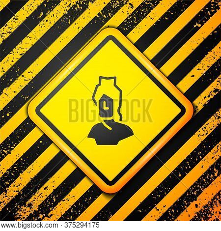 Black Ancient Bust Sculpture Icon Isolated On Yellow Background. Warning Sign. Vector