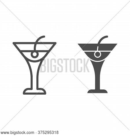 Cocktail Drink Line And Solid Icon, Beverage Concept, Cocktail With Cherry Sign On White Background,