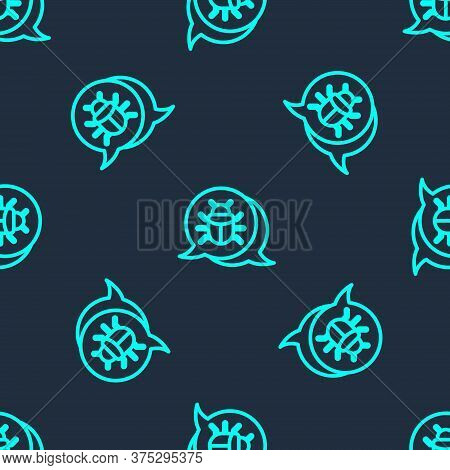 Green Line System Bug Concept Icon Isolated Seamless Pattern On Blue Background. Code Bug Concept. B