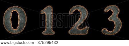 Set of numbers 0, 1, 2, 3 made of leather. 3D render font with skin texture isolated on black background. 3d rendering