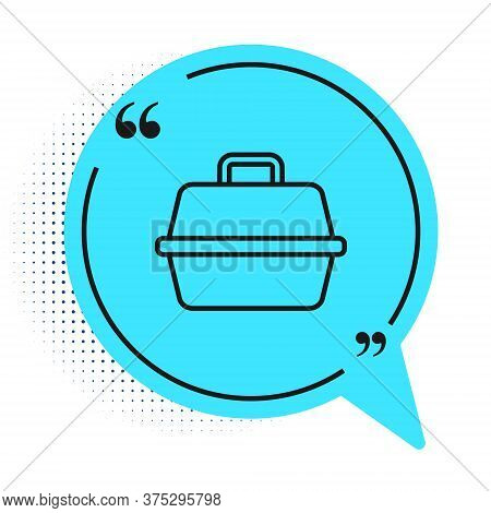 Black Line Pet Carry Case Icon Isolated On White Background. Carrier For Animals, Dog And Cat. Conta