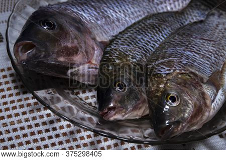 Nile Tilapia Fish, Oreochromis Niloticus On The Plate