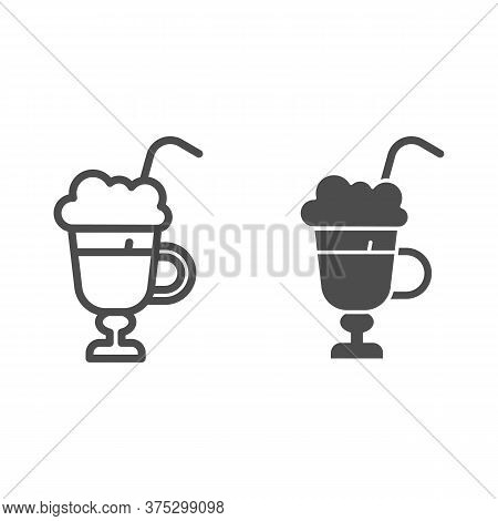 Latte With Cream In Glass Line And Solid Icon, Beverage Concept, Latte Coffee With Whipped Cream Sig