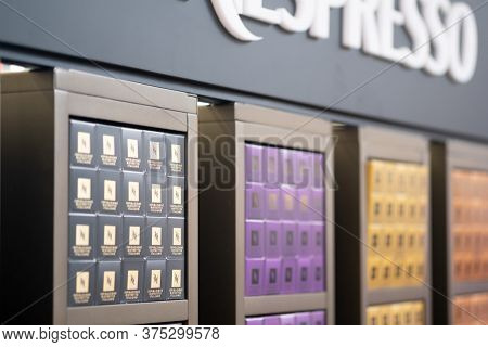 Samut Prakan, Thailand - July 7, 2020 : Variety Of Coffee Capsules In Nespresso Store. Various Flavo