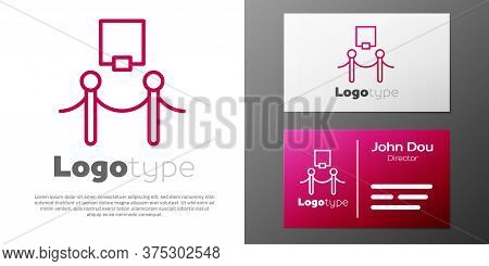 Logotype Line Picture Frame And Rope Barrier Icon Isolated On White Background. Exhibit Protection.