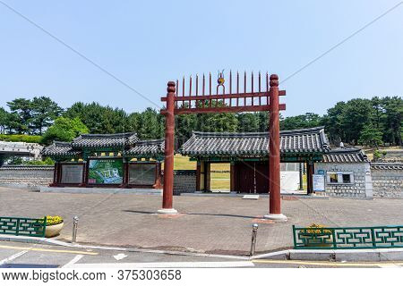 Gimhae, South Korea - June 18, 2017 : Ancient Traditional Korean Style Gate Of Royal Tomb Of King Su