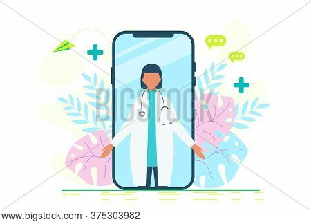 Online Doctor Women Healthcare Concept Icon Set. Doctor Videocalling On A Smartphone. Online Medical