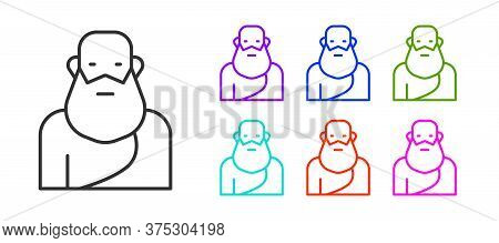 Black Line Socrates Icon Isolated On White Background. Sokrat Ancient Greek Athenes Ancient Philosop