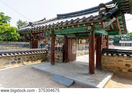 Gimhae, South Korea - June 18, 2017 : Sectional Gate Of Royal Tomb Of King Suro Of Gaya Kingdom In G