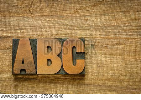a, b, c - first letters of alphabet in vintage wooden letterpress type blocks against handmade banana paper with a copy space, essentials, start or beginning concept
