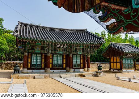 Gimhae, South Korea - June 18, 2017 : Traditional Korean Style Building In The Royal Tomb Of King Su