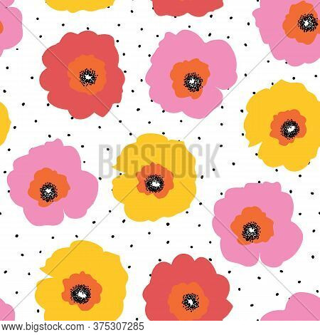 Large Red Pink And Yellow Flowers Seamless Vector Pattern On A Polka Dot Background. Repeating Flora