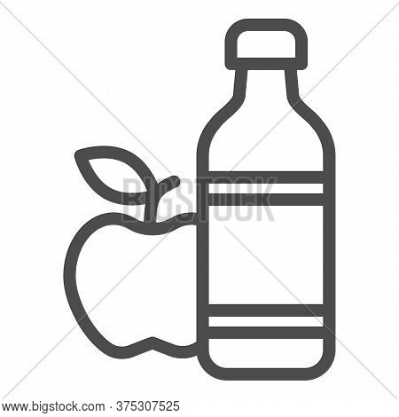 Apple And Mineral Water Line Icon, Healthy Lifestyle Concept, Bottle Of Water And Fruit Sign On Whit