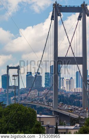 15 July 2019 Istanbul / Turkey July 15 Martyrs Bridge And Skyline