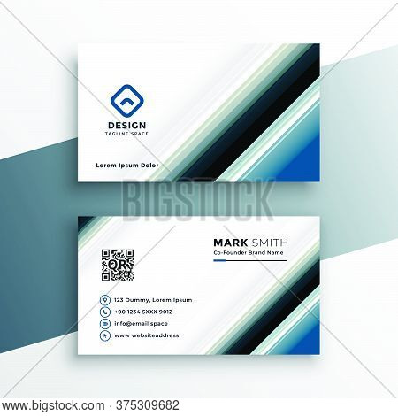 Abstract Business Card Template In Line Style