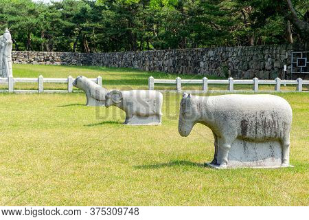 White Stone Carving Sculpture Of Guardian Animals At The Royal Tomb Of King Suro Of Gaya Kingdom In