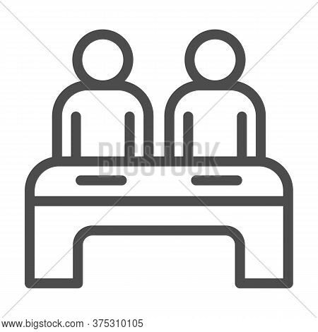 Two Students At Desk Line Icon, Education Concept, Couple Of Pupils Sign On White Background, Cowork