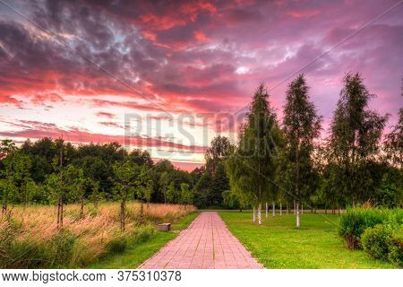 Beautiful sunset over the public park in Pruszcz Gdanski, Poland.