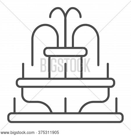 Fountain Thin Line Icon, Amusement Park Concept, Park Fountain Sign On White Background, Water Fount