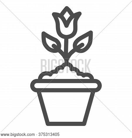 Flower In Flowerpot Line Icon, Floral Concept, Plant In Flowerpot Sign On White Background, Potted T