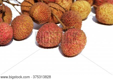 Organic Litchi Or Lychee Isolated On White Background With Selective Focus