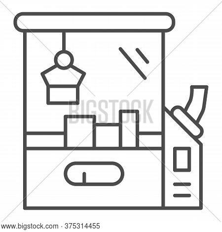Toy Machine Thin Line Icon, Amusement Park Concept, Crane Game Sign On White Background, Claw Crane