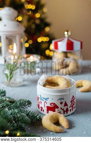 Homemade Christmas Bakery, Vanilla Crescent Cookies With Candles, Christmas Tree And Bokeh