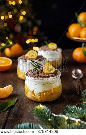Homemade Christmas Dessert, No Bake Cheesecake With Tangerines And Chocolate