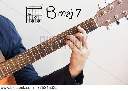 Learn Guitar - Man In A Dark Blue Shirt Playing Guitar Chords Displayed On Whiteboard, Chord B Major