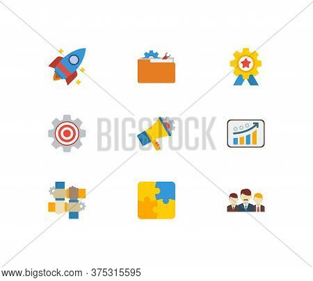 Technology Cooperation Icons Set. Teamwork And Technology Cooperation Icons With Startup, Marketing