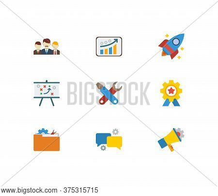 Technology Cooperation Icons Set. Teamwork And Technology Cooperation Icons With Technical Developme