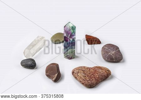 Gemstones Fluorite, Quartz Crystal And Various Stone. Magic Rock For Mystic Ritual, Witchcraft And S