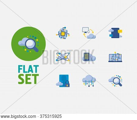 Cloud Technology Icons Set. Secure Account And Cloud Technology Icons With Cloud Computing, File Sto