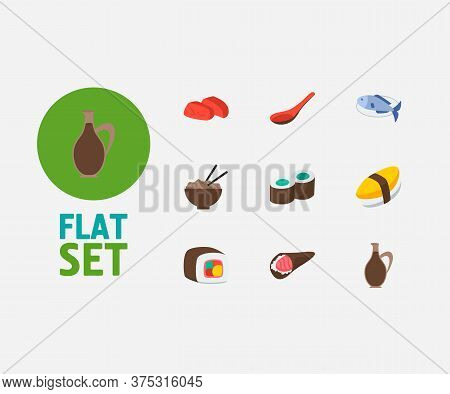 Nutrition Icons Set. Sashimi And Nutrition Icons With Unagi Nigin, Sushi Roll And Soup Spoon. Set Of