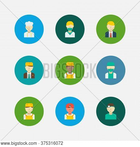 Occupation Icons Set. White Worker And Occupation Icons With Manager, Indian Worker And Nurse. Set O