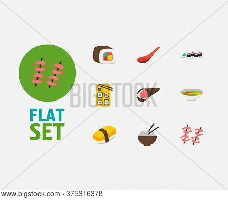 Sushi Icons Set. Tamago Nigiri And Sushi Icons With Rice, Sushi Roll And Soup. Set Of Chopsticks For
