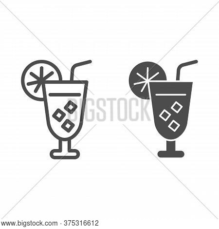 Iced Cocktail With Slice Of Lemon And Srtraw Line And Solid Icon, Drinks Concept, Summer Cocktail Si