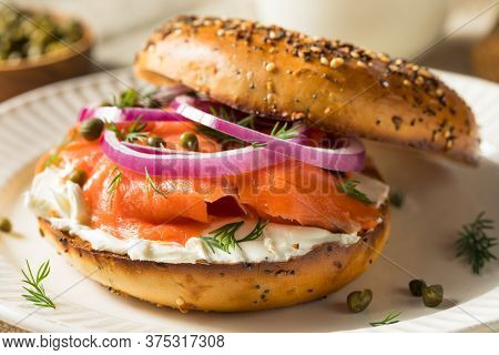Homemade Bagel And Salmon Lox With Cream Cheese And Dill