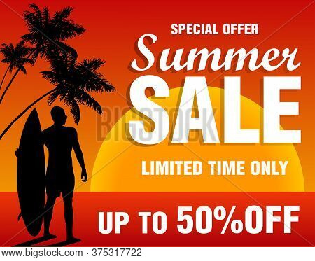 Summer Sale Design Template Banner. Special Offer Summer Sale Limited Time Only With Surfer. Vector