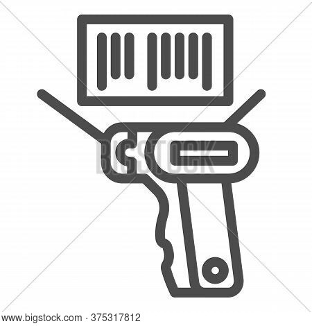 Product Scanner And Barcode Line Icon, Market Concept, Bar Code With Laser Scanner Sign On White Bac