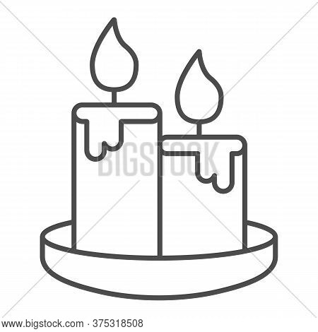 Wax Candles Thin Line Icon, Honey Concept, Two Burning Candle Sign On White Background, Candles Icon