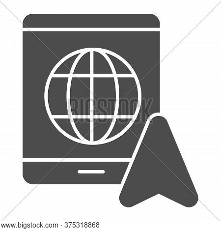 Tablet With Globe And Navigation Pointer Solid Icon, Navigation Concept, Gps Navigator Sign On White