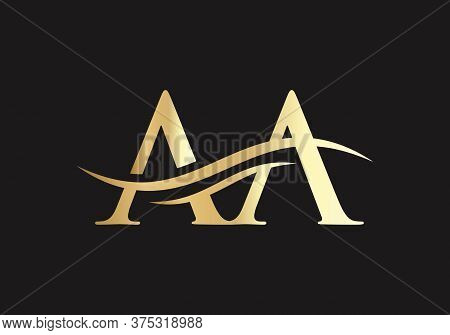 Initial Gold And Silver Letter Aa Logo Design With Black Background.
