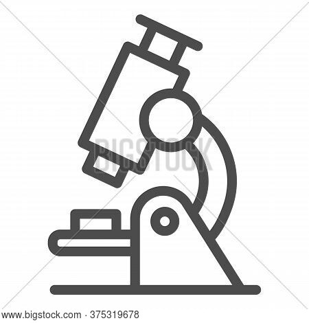 Microscope Line Icon, Education Concept, Biochemistry And Microbiology Equipment Sign On White Backg
