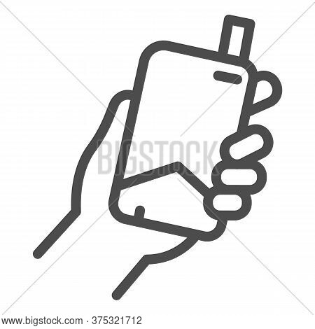 Hand With Electronic Cigarette Line Icon, Smoking Concept, E Cigarette In Hand Sign On White Backgro